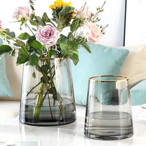 轻奢描金t型透明插花水培玻璃花瓶