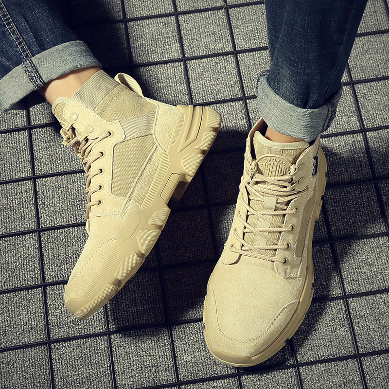 Autumn and winter tactical Martin boots leather high helper work clothes shoes British Chinese helper mens boots fashion shoes army boots war wolf desert boots