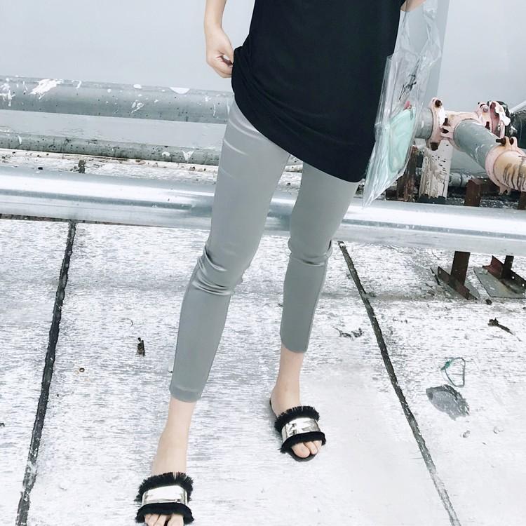 三醋酸黑色缎面裤子女光面夏丝绸打底裤外穿薄款松紧腰九分a小脚