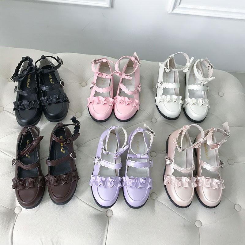 洛丽塔女鞋蝴蝶结梅露露日系Lolita鞋子可爱少女圆头中跟萝莉单鞋