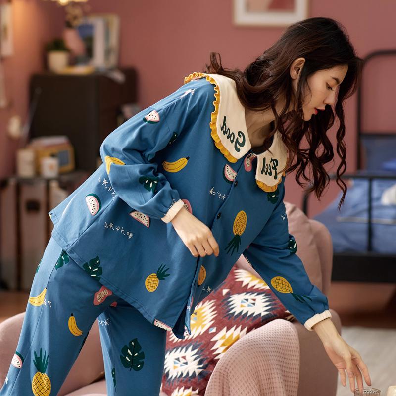 南极人纯棉睡衣女春秋季长袖家居服套装夏季薄款女士两件套秋冬款图片