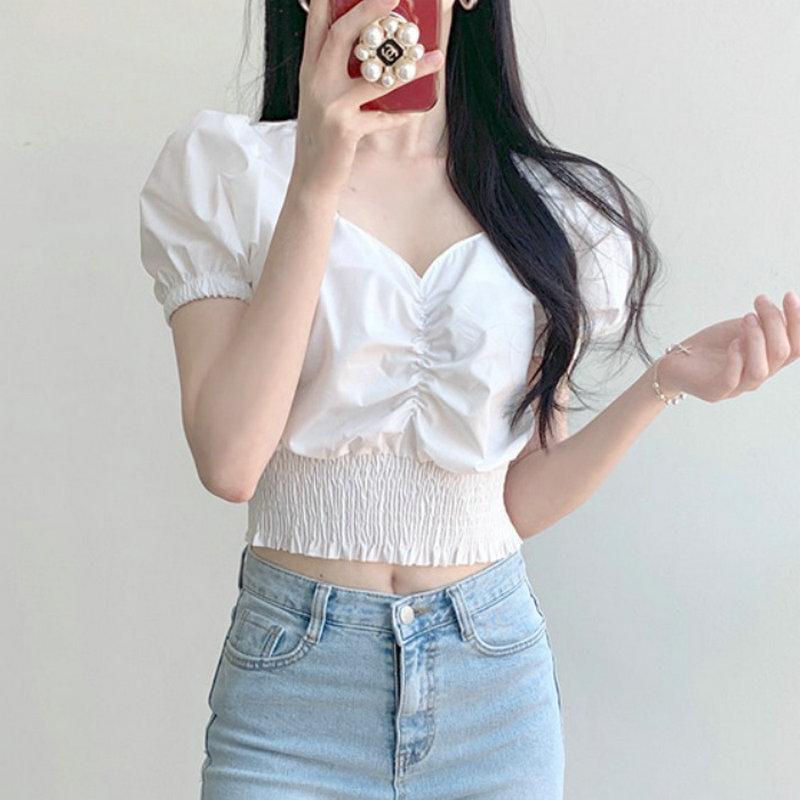 褶皱松紧腰短款衬衫女韩版法式小众纯色束腰上衣泡泡袖V领打底衫