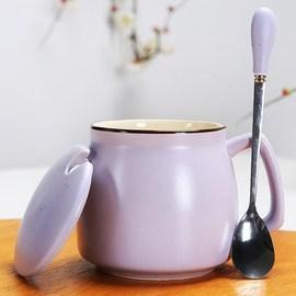 纯白咖啡杯陶瓷杯大肚杯紫色日用展示架2018新款早餐杯女式家居图片