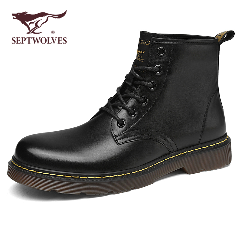 Seven wolves Martin boots men's high-top leather shoes autumn casual tooling boots men's motorcycle boots leather winter men's shoes