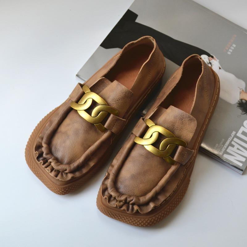 手工女鞋复古国风皱褶单鞋一脚蹬小皮鞋文艺外贸平底鞋洛丽塔