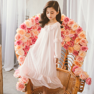 睡裙春秋儿童蕾丝公主中大童小女孩长款 女童长袖 纯棉宫廷睡衣秋款