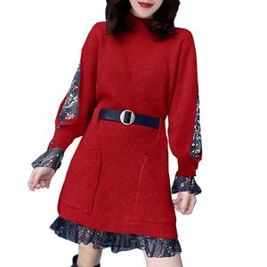 时尚拼接网纱收腰红色新年连衣裙