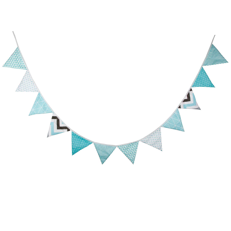 派对房家居装饰装饰三角旗提夫尼蓝棉布新品生日儿童