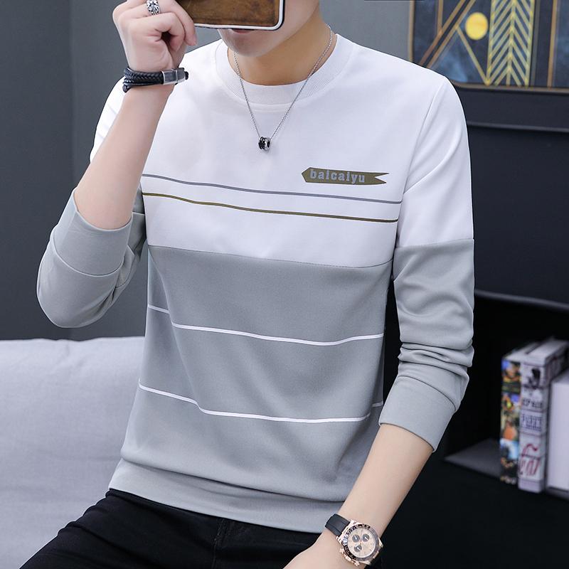 秋季男士薄款长袖T恤青少年韩版修身潮流圆领卫衣学生加绒上衣服图片