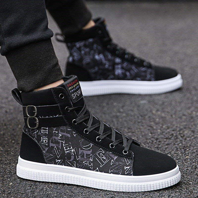 Inner height mens shoes high top canvas shoes Korean student fashion shoes versatile casual couple board shoes mens breathable summer