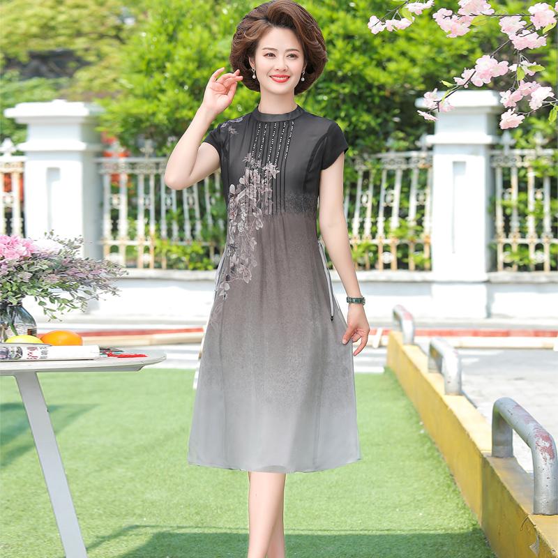 中年人妈妈夏装洋气连衣裙中老年女装2020新款短袖过膝裙子40岁50
