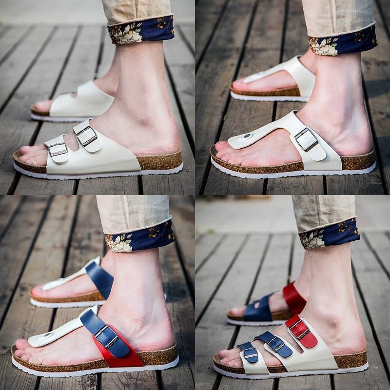 Couple cork slippers mens summer clip foot antiskid beach sandals Korean fashion sandals womens flip flops