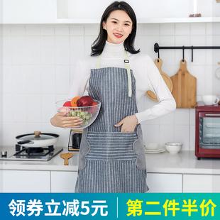 【棒阿姨】家用棉麻韩版家居围裙
