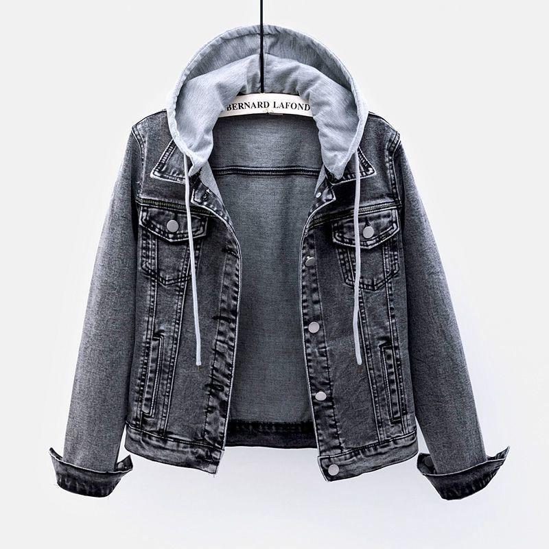 Denim Jacket Womens short 2021 spring new hooded detachable black grey Long Sleeve Jacket versatile slim top