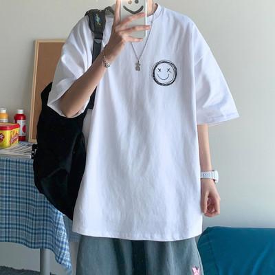 港风t恤男宽松衣服男生短袖ins潮牌半袖五分袖潮流韩版上衣bf体恤