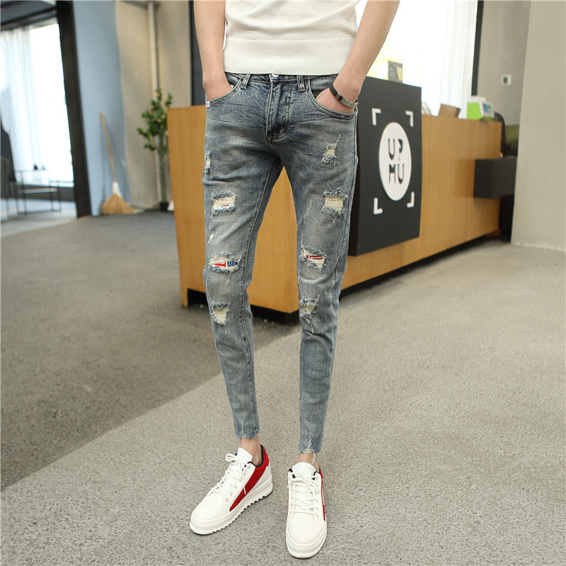 Spring and summer Hong Kong style new light color distressed 9-point jeans mens slim Korean version small foot beggar 9-point pants trend