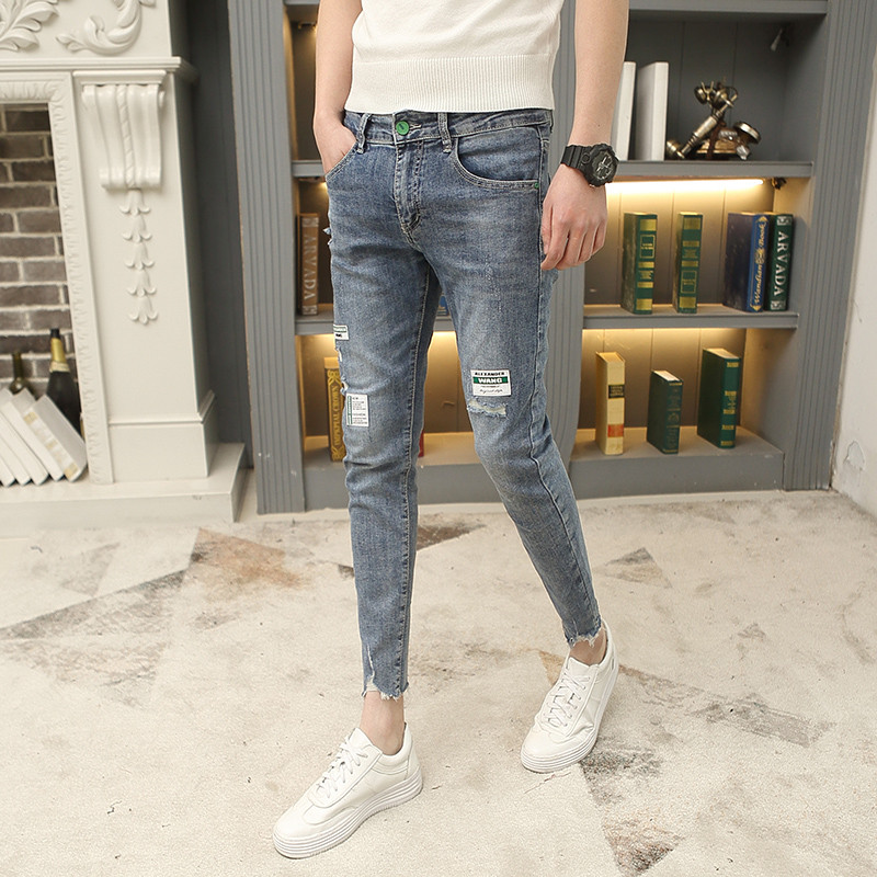 Spring and summer hole nine point jeans mens slim little feet beggar pants Hong Kong Style Harun pants students nine point casual pants