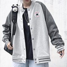 Converse converse couple net red color block coat men's and women's cardigans with plush baseball suit sweater sports coat trend