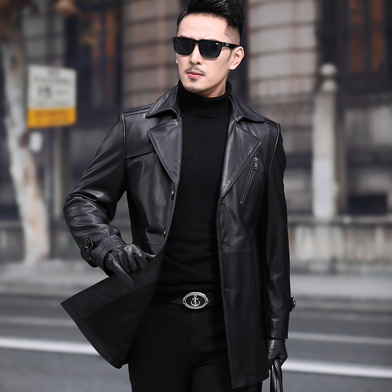 Spring and Autumn Hai Ning Head Layer Leather Leather Men's Men's Direct Of Suits Wild Youth Trend Trends Jacket