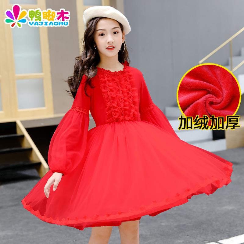 女童冬款连衣裙2020年新款洋气时髦10儿童加绒冬季网红公主裙韩版