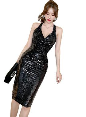 欧洲站春装2021年新款女法式高端气质亮片黑色性感深v挂脖连衣裙
