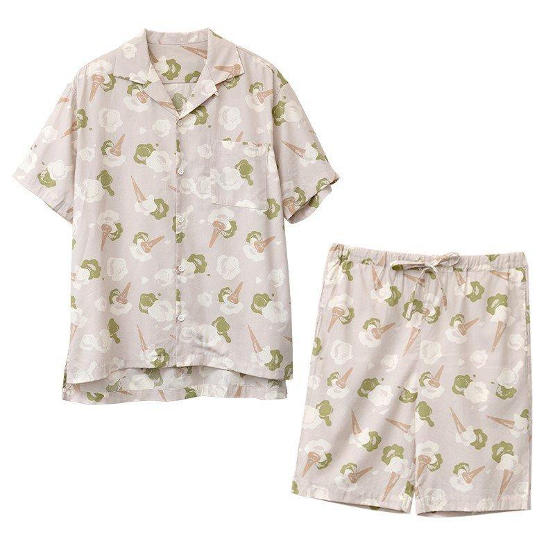 东京花园睡衣东园夏季清爽冰激凌印花图案男士全棉短袖短裤套装