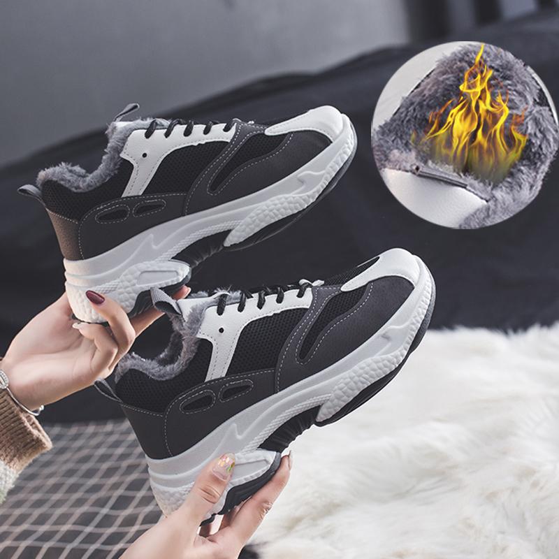 加绒老爹鞋女2019冬季新款韩版保暖熊猫鞋松糕学生厚底运动休闲鞋