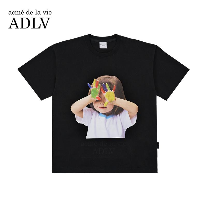 【热卖2W件+】ADLV/2021夏季新款韩国潮牌乐彩双手宽松短袖T恤女