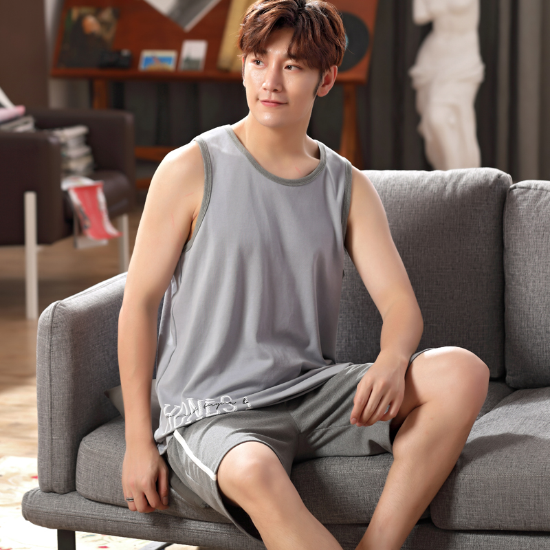 Summer mens pajamas short sleeve cotton mens loose Summer Shorts vest cotton home wear plus size set