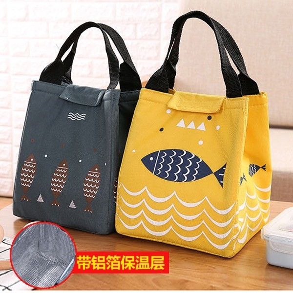 Round heat preservation barrel lunch box bag set with three layers of thickened aluminum foil breakfast bag with rice bag