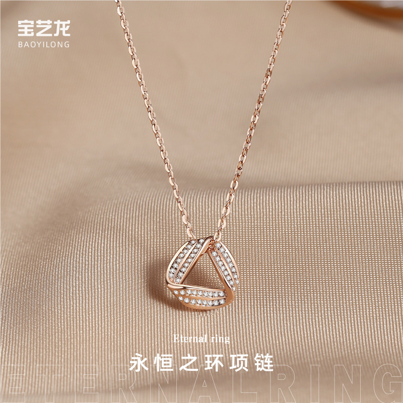 New 925 Sterling Silver Necklace female fashion eternal ring clavicle chain pendant jewelry for student girlfriends birthday