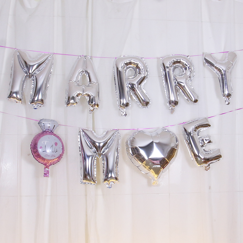 Mary me marries me aluminum balloon wedding proposal on Chinese Valentines Day