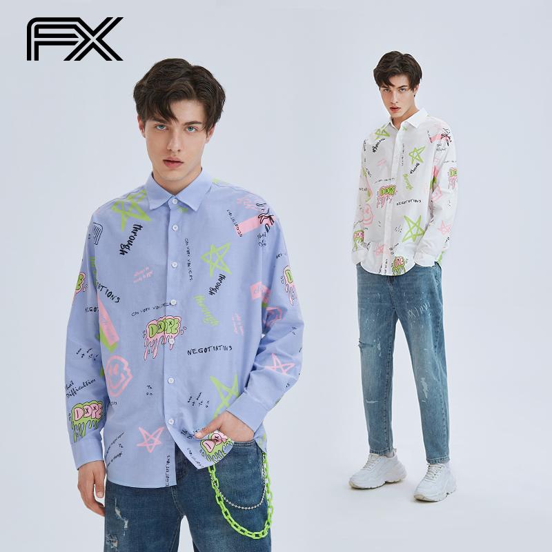 FX fashion brand retro abstract pattern printed long sleeve shirt mens and womens same national fashion loose couple shirt coat