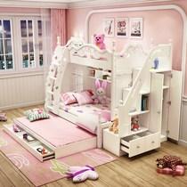 韩式高低床双层床儿童床女孩公主床实木子母床上下床多功能组合床