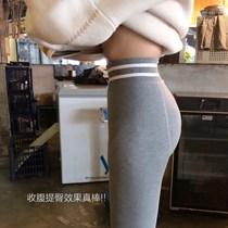 加绒打底裤烟灰色打底袜加绒水貂绒高腰提臀可踩脚ins买一送一