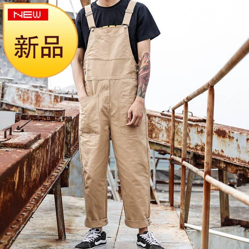 American style retro one-piece casual breeches mens h large pocket work clothes suspenders mens and womens Korean one-piece pants