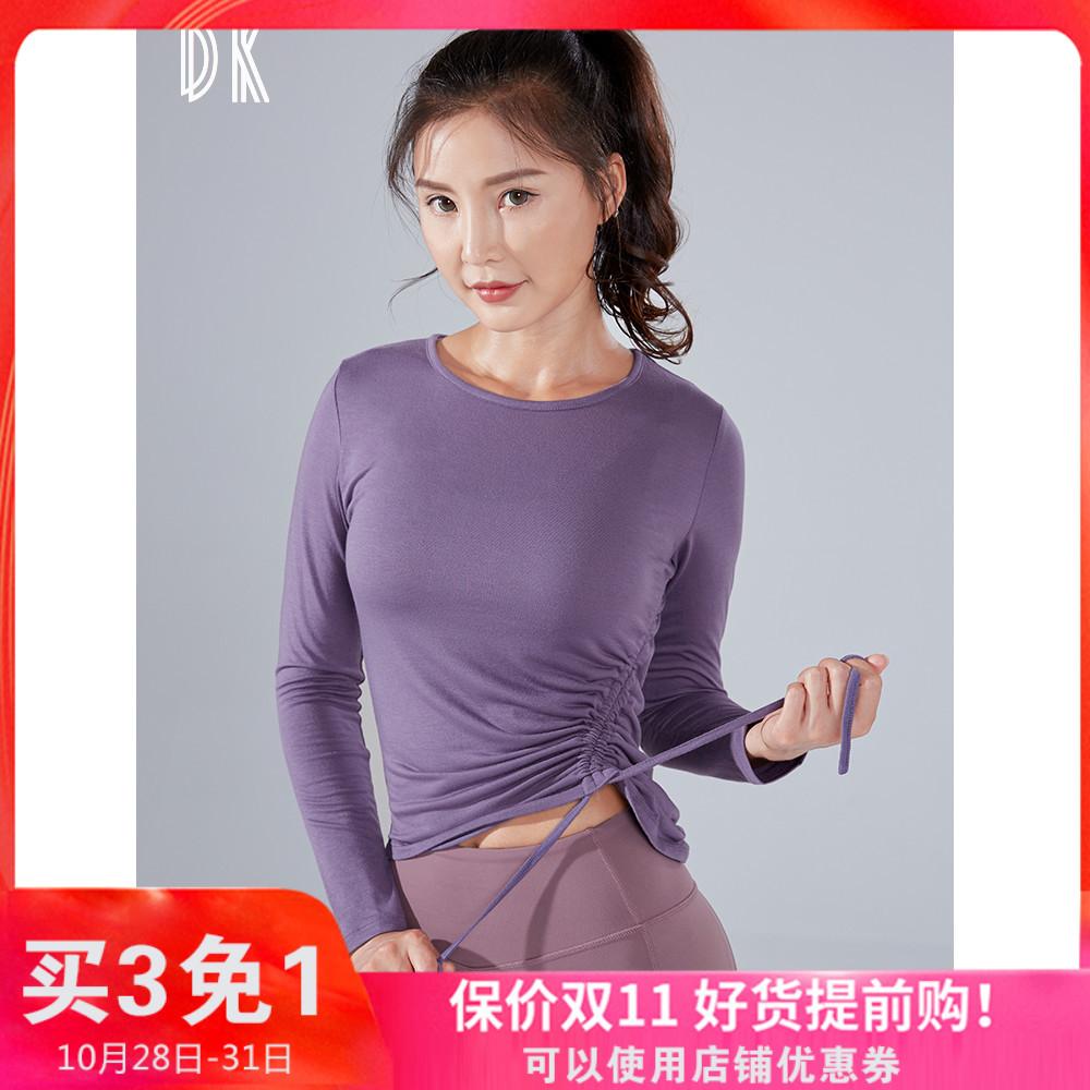 DK 性感绑带运动t恤女弹力紧身衣长袖速干跑步训练健身服瑜伽上衣