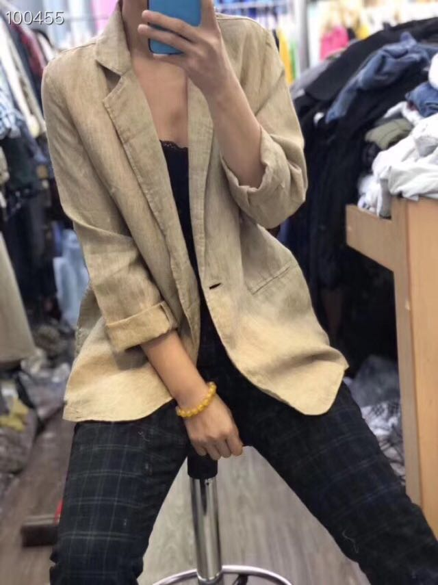 Export to Japan foreign trade spring linen wide version suit one button Lapel casual coat large version womens coat