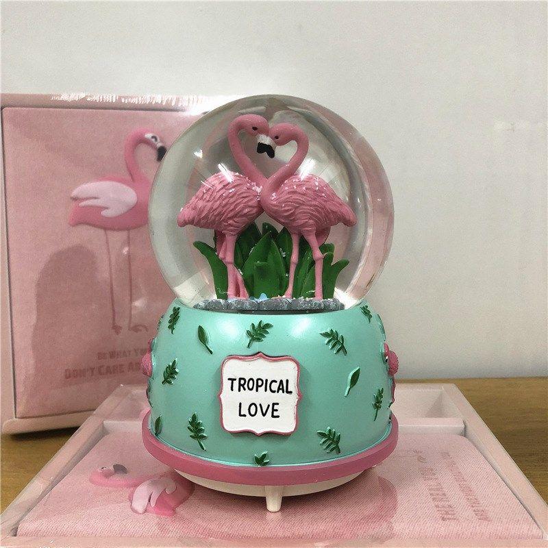 创意森林龙猫水晶球音乐盒男女生礼物带灯自动飘雪花圣诞节八音盒