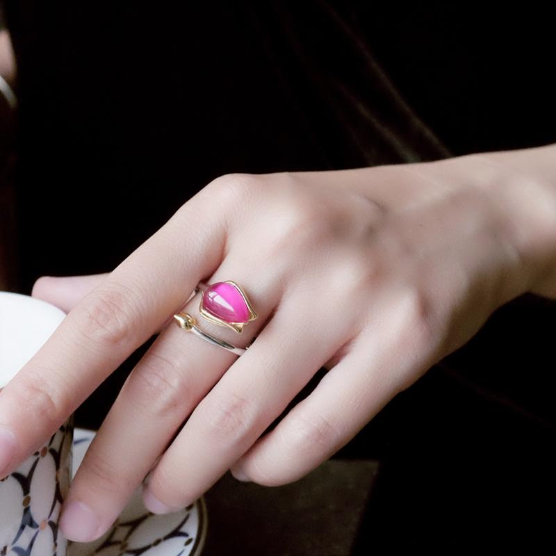 渔莲纯银饰品红刚玉女款森系气质优雅超仙气开口戒指环郁金香 Изображение 1
