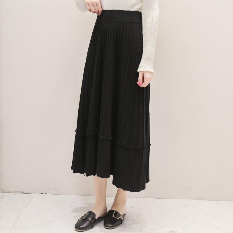 秋季新款简约显瘦百搭A字针织毛线半身裙高腰中长裙子韩版大摆裙