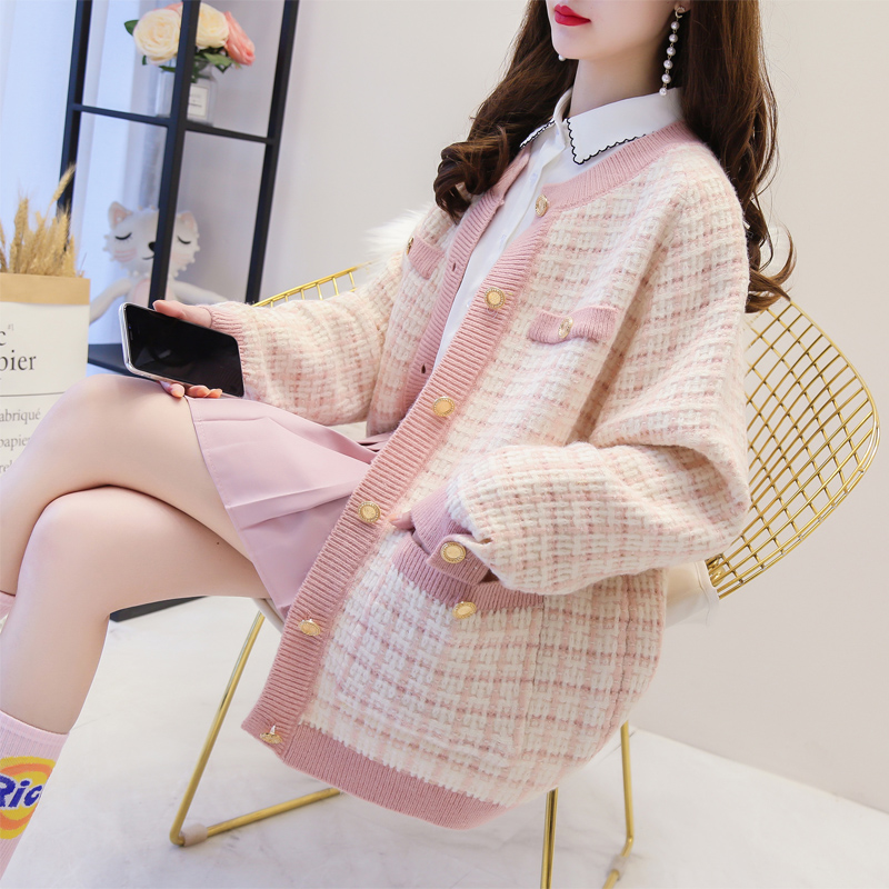 Small fragrant style sweater coat womens autumn and winter thickened Korean loose net red lazy wind medium length knitting cardigan fashion