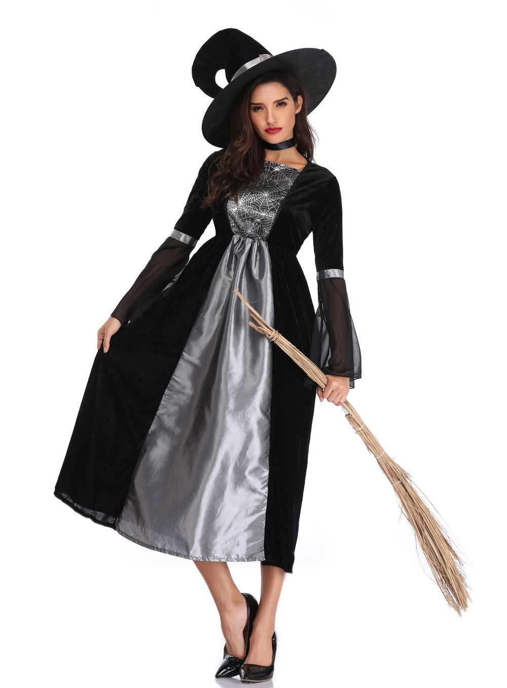 Witch double color long Witch Costume role play Party Costume stage performance Costume