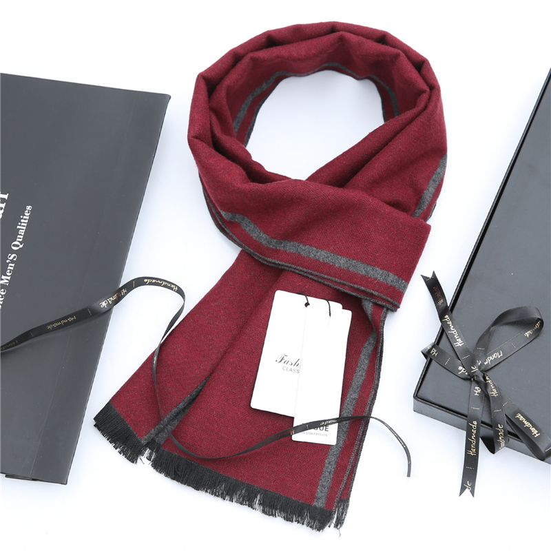 [crown scarf] red scarf mens thick stripe in autumn and winter long mid life warm neck in winter