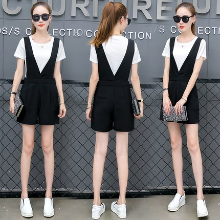 18-40 years old can wear summer dress, slim and slim, large womens fashion stripe fake two piece backpack pants