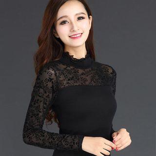 春秋装韩版新款高领蕾丝衫修身显瘦网纱打底衫大码女装长袖T恤女