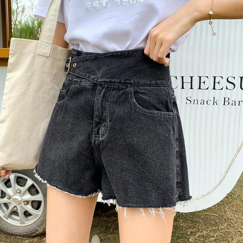 大码牛仔短裤女适合胖女人宽松显瘦a字阔腿裤200斤胖妹妹高腰热裤