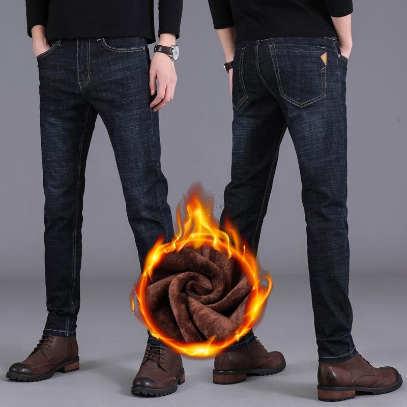 牛仔裤2020男秋冬加绒加厚弹力青年潮流修身直筒休闲男士厚款