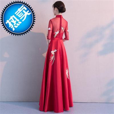 袖平时可穿结婚晚礼服女秋款冬季长款酒红色长中式敬酒服新22娘20