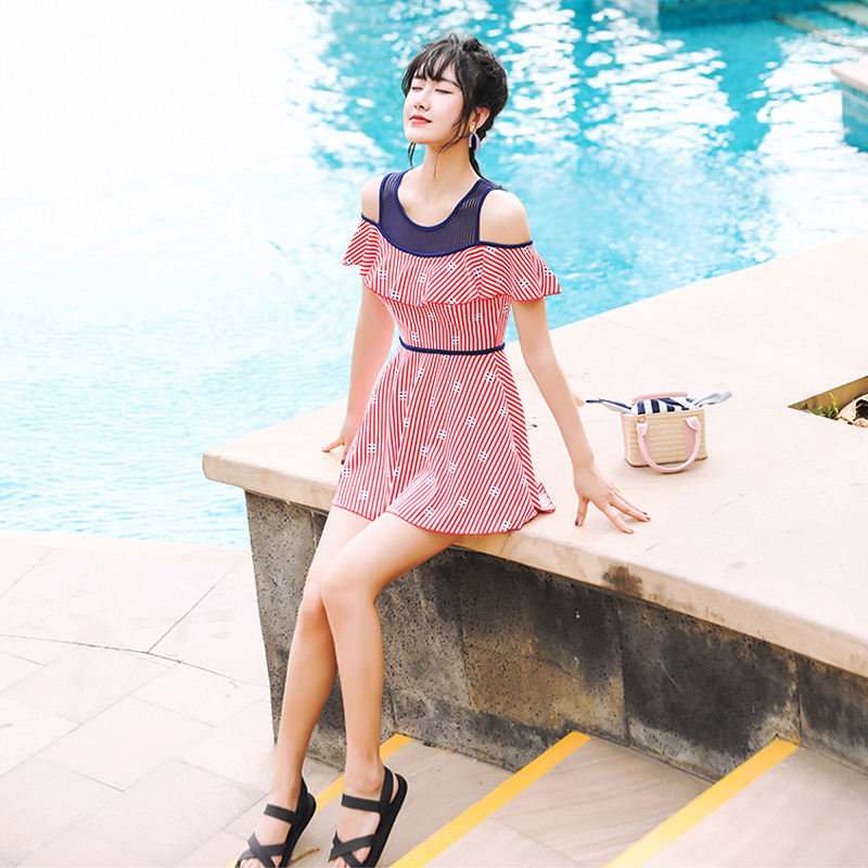 2020 summer new swimsuit womens belly covering show thin fairy swimsuit South Korean ins one piece skirt swimsuit